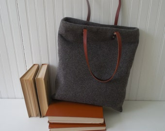 Re purposed Wool Tote Leather Handles Laptop Tote