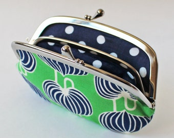 Coin purse wallet - navy blue leaves on kelly green kiss lock frame purse change purse emerald green botanical leaf