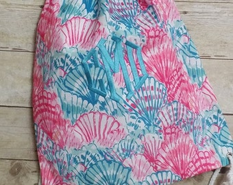 Monogrammed Lilly Pulitzer fabric drawstring tote bags