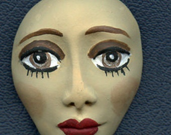 Polymer Clay Detailed Tan Art Doll Face LTBRF 1