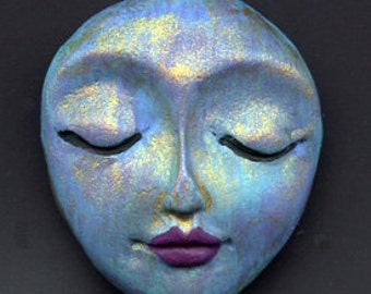 "Polymer Clay OOAK   1 1/4""    Abstract  Art Doll  Face  Cab SMTF 4"