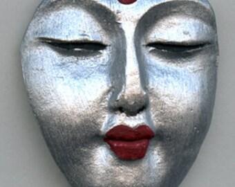 Polymer Clay Silver Buddha Face Cab Un Drilled  BDSL 1