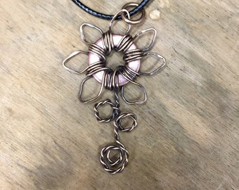 Flower Pendant, Copper & Bronze