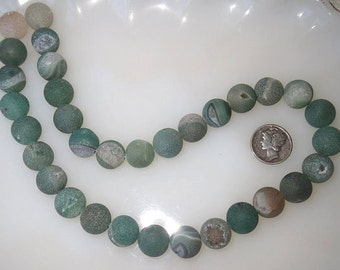 Natural Green Druzy Agate 12mm Round Beads Half Strand