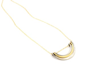 Mixed Nested Petal Necklace- sterling silver, gold fill