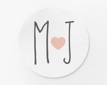 Custom Stickers - Wedding Stickers - Monogram Stickers - Heart Stickers - Wedding Favors - Custom Logo Stickers - Adhesive Labels