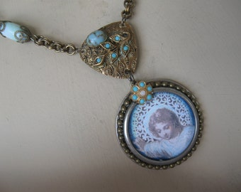 Gentle Love, antique holy card, repurposed vintage, upcycled, inspirational, one of a kind, assemblage necklace, ohmygypsysoul, ooak