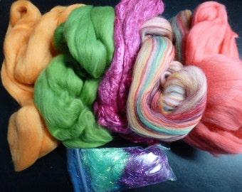 Fiber Pack Merino Silk Angelina Hollyberry  5.25 Ounces Total Felting Spinning Carding