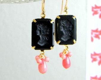 Vintage West German Jet Black Glass Cameo Pink Coral Earrings