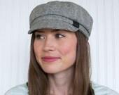 Newsboy Cap- Womens Newsboy Hat- Womens Hats - Gray and Ivory Wool Hat Womens Hat Trendy - Womens Caps - Winter Hat - Gray Hat