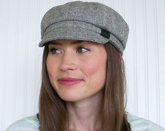 Womens Wool Newsboy Cap, Gray and White Herringbone, Womens Hats- M