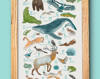 "ABC Animal Print - 13x19 print - baby kids nursery art, California whale fox quail ""California Animals"""