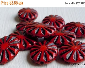 25% OFF Summer Sale Czech Pressed Oval Beads 14mm Opaque Red Jet Inlay (G - 326)