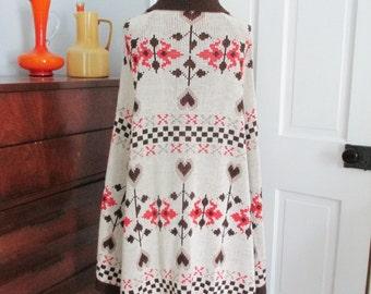 Vintage 70s Cape Poncho Acrylic Knit Beige Orange Brown Floral Designs Boho Hippie Retro Womens