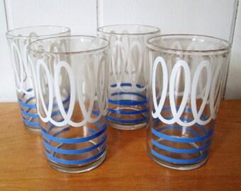 4 vintage blue squiggle juice glasses