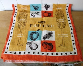 vintage jardin fruitier tea towel