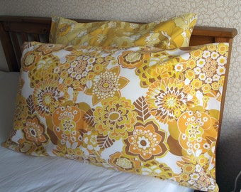 Vintage Single Pillowcase - Yellow, Orange and Brown Flowers with Brown Leaves
