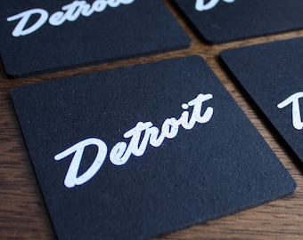 Detroit Script Recycled Tire Coasters - Set of Four
