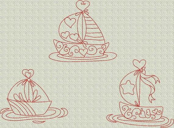 INSTANT DOWNLOAD Ships of Love Valentine Redwork Machine Embroidery Designs