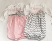 New Baby... MONOGRAMMED Coming home hospital set. Baby girls clothing. 1 or both sets available.. baby gown and hat