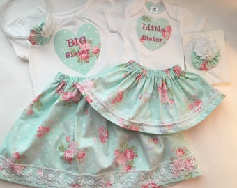 Matching SISTER Outfits and headbands..big sister--- little sister--- shabby chic ... New baby... Coming home outfit