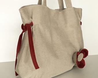 Cotton handbag  Vegan corduroy  purse in oat color Girls gift  Fabric purse Gift for her Summer bag  Women handmade handbag , day bag