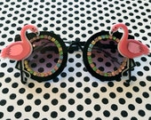 Black Retro and Multi Colored Pastel Rhinestone Acrylic Flamingo's Sunglasses