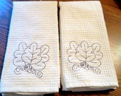 On reserve for Donna Lawry special order Ivory Leaf Kitchen and bath Hand towels
