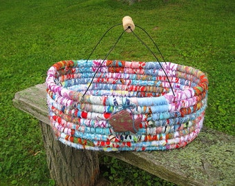 FISH TOTE BASKET large hand coiled floor textile art Beach House Series