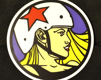 Vinyl roller derby sticker 3 inch circle - full color - smiling blonde roller derby girl