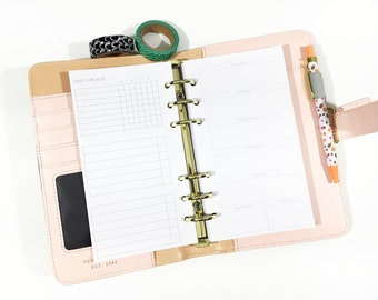 Personal Size Undated Week on One Page + Daily Checklist Personal or Compact Filofax, Medium Kikki K, planner inserts - minimalist design