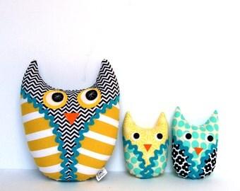 Plush Owl Family - Owl Stuffie, Owl Softie, Owl Pillow