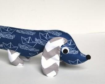 Nautical Theme Stuffed Wiener Dog Softie Plush for Kids Dachshund Toy CALVIN