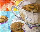 Tea and Biscuits - 12x12 Original Torn Paper Collage - Mixed Media