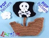 Pirate Ship Crochet Applique Pattern