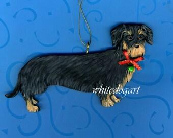 Custom  Handpainted Wirehaired  Dachshund Christmas Ornament