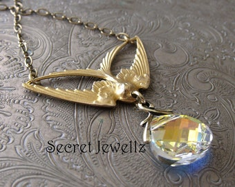 Swarovski® Crystal Necklace, Gold Brass Bird Necklace, Clear Crystal Necklace, Swallow, Nature Inspired Jewelry, Aurora Borealis Necklace