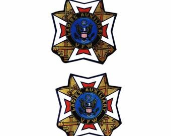 Two Vintage VFW Ladies Auxiliary Stickers ORIGINAL