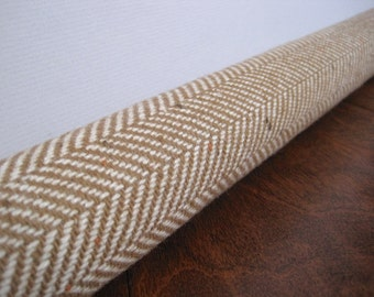 PUMPKIN spice tan herringbone weave door draft stopper / tan herringbone wool draft stopper