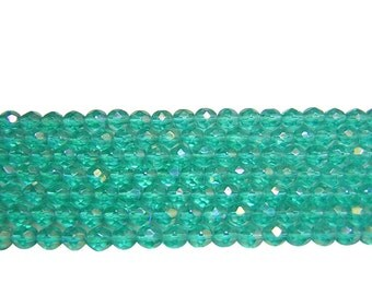 Czech Fire Polished Beads || 7mm Teal Iris Luster Firepolished Round Beads 30pcs (5014) Czech Glass Beads