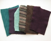Felted Sweater Pieces - Felt - Purple, Teal - Destash
