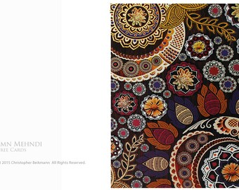 Autumn Mehndi - Fall Color Indian Paisley Floral Tree-Free Greeting Cards by Christopher Beikmann