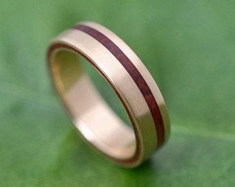 Size 6.5 READY TO SHIP Yellow Gold Equinox Guapinol Wood Ring - ecofriendly recycled yellow gold wood wedding band, gold wedding ring