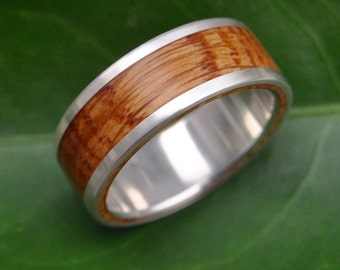 Lados Bourbon Barrel Wood Ring - reclaimed white oak bourbon barrel wood wedding band, wood wedding ring, mens wood ring