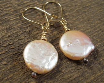 Classic antique ivory freshwater coin pearls and gold handmade earrings