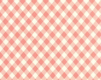 Vintage Picnic - Check in Coral Pink: sku 55124-13 cotton quilting fabric by Bonnie and Camille for Moda Fabrics - 1 yard