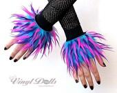 Monster Fur Furry Wrist Cuffs, Hot Pink Purple Blue Rave Hand Warmers Fluffies