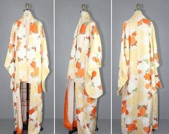 kimono sale / furisode / 1950s / vintage kimono / MARIGOLD silk robe