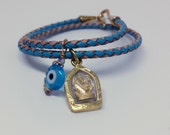 Ganesha and Evil Eye Double Wrap Leather Bracelet / Boho Chic