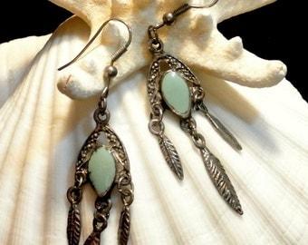 Southwest Dangle Earrings, Turquoise Silver Feather Earrings, Vintage Southwest Earrings, 1970 Southwest Earrings